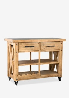 "(LS) Farmhouse 44"" Kitchen Island with Zinc toppine woodfinish: rustic natural(44X22X36)"