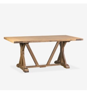"Farmhouse 71"" solid pine wood dining table..pine wood (2 BOXES PER ITEM)..finish: rustic na..."