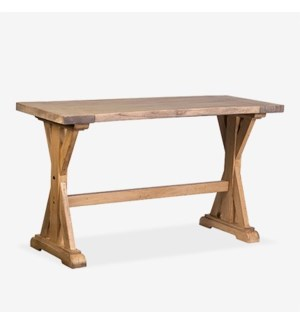 (LS) Farmhouse solid pine wood counter height table..pine wood..finish: rustic natural..(63X24X35)