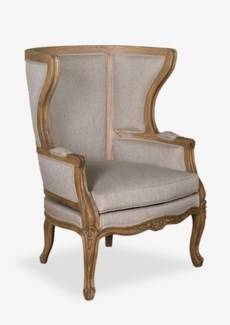 (SP) Madeleine upholstered and hand carved wing back chair W/LT Grey Taupe Fabric..(32X31X44)
