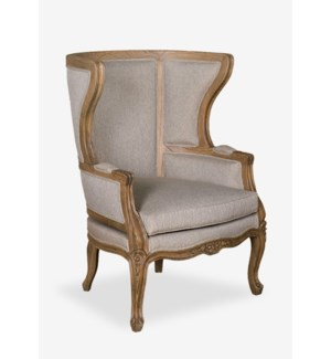 (LS) Madeleine upholstered and hand carved wing back chair W/LT Grey Taupe Fabric..(32X31X44)