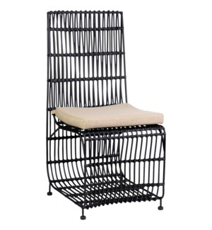 Marvel Dining Chair, Black Rattan & Iron