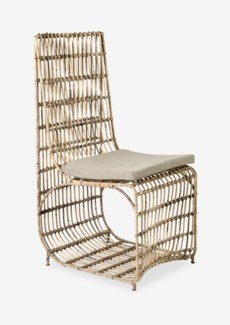 Marvel dining chair with iron frame wrapped with natural rattan(18X23X40)