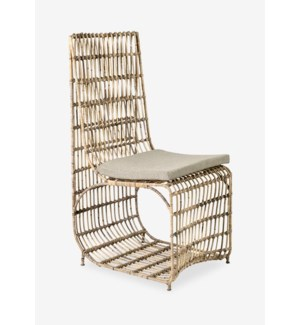Marvel Dining Chair, Natural Rattan & Iron