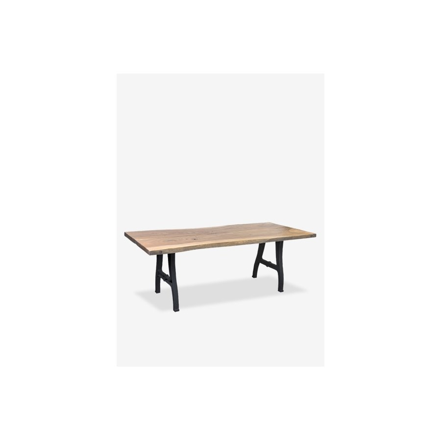"Ford 87"" acacia solid wood top dining table with forged iron metal base..(87X31X30) (2 boxe..."