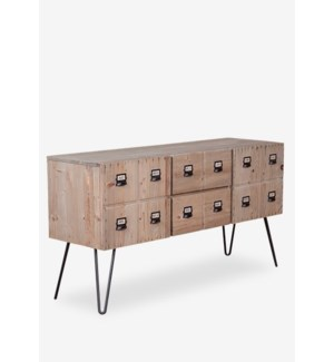 Parsons cabinet with 2 doors and 2 drawers with metal accents (K/D) - Reclaimed solid pine ...