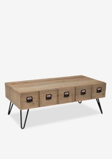 Parson coffee table with 2 drawers (K/D)..Reclaimed solid pine wood/ metal legs and metal a...