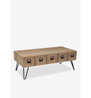 (33.21% Off) Parson coffee table with 2 drawers (K/D)..Reclaimed solid pine wood/ metal legs and met