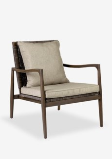 Sebago wood arm chair with rattan weave back..(29X33X34)