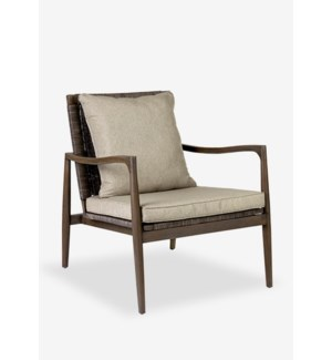 (LS) Sebago wood arm chair with rattan weave back..(29X33X34)