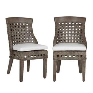 Sahara side chair w/ wood accent - Grey Wash  - MOQ 2 (22x25.5x37)