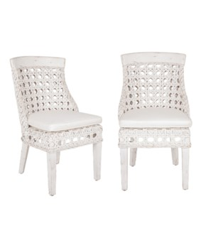 Sahara Side Chair w/ Wood Accent-White Aged  - MOQ 2 (22x25.5x37) (package: 2pcs/box) price is per p