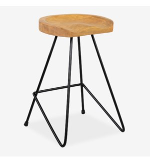 Sallie Teak Counterstool with Metal Legs - MOQ 2 (16x16x24)....