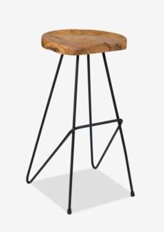 (LS) sallie teak barstool with metal legs..(16X16.5X30)..