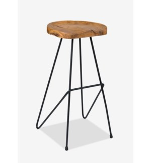 Sallie Teak Barstool with Metal Legs..(16X16.5X30)..