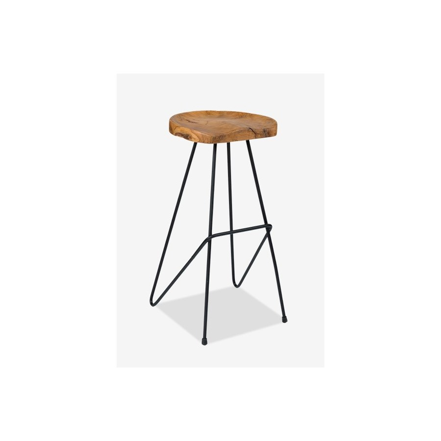 Cool Sallie Teak Barstool With Metal Legs 16X16 5X30 Gmtry Best Dining Table And Chair Ideas Images Gmtryco