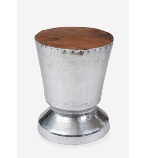 (LS) Tempered metal trophy design with wood top (14X14X18)....