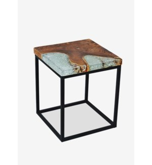 Uptown Icy Wood Square Side Table With Wrought Iron Leg 16.5x16.5x19.5