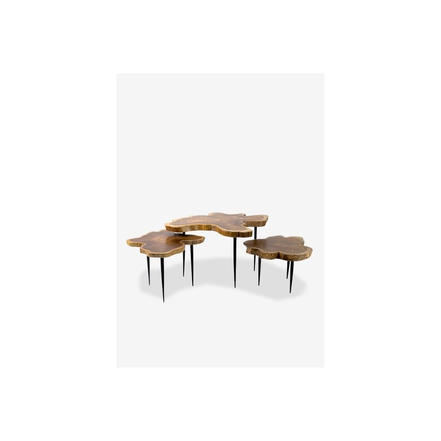 Ls 8909lteakwood Freeform Top Table With Metal Pin Base