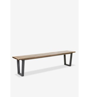 "Thomas 75"" wood bench with metal base - K/D..(75X15X18) (2 BOXES PER ITEM)"