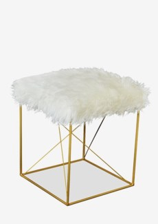 Tibetan Faux Fur Stool with Gold Iron. 16x16x20.