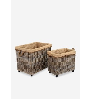 Basket Set of 2 Kubu Grey w/ Rope & Jute Lining (29x20x24 / 24x14.5x20)