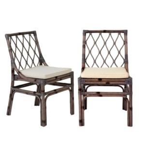 Brighton rattan Side Chair W/Loose Cushion-Grey MOQ 2 (20X22X33)