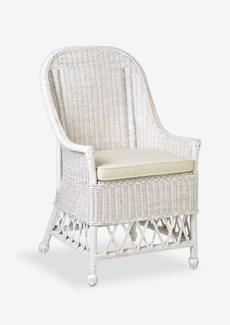 Daphnie Rattan Arm Chair-White Aged Finish (22X23X39)