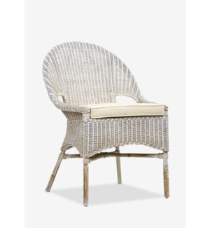 Daphnie Slipper Rattan Arm Chair-White Aged Finish (24X25X35)