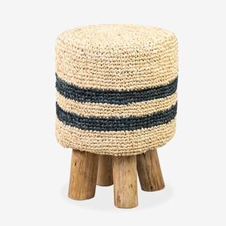 Raffia Hula Stool - Natural/Black Stripe