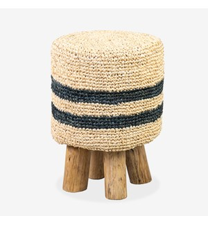 Raffia Hula Stool - Natural/Black Stripe