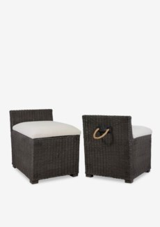 (LS) Kara Pouf Rattan Chair-Smoke Grey(20X23X24)