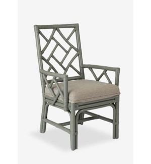 Lenea Chippendale grey rattan arm chair grey taupe cushion..(22.5X25X38.5)