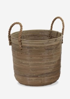 (LS) Round Basket Storage Large Size with Jute Handle Kubu Grey (15X14X18)