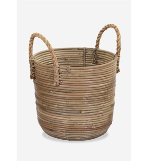 (27.78% Off) Round Basket Storage Medium Size with Jute Handle Kubu Grey (13X12X15)