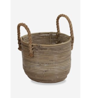 (26.92% Off) Round Basket Storage Small Size with Jute Handle Kubu Grey (11X9X12)