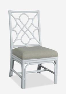 Megan Chippendale white rattan side chair cream taupe cushion(21X25X38.5)