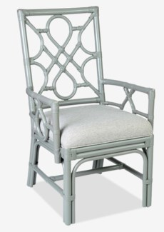 (LS) Megan Chippendale Grey rattan arm chair cream taupe cushion..(22.5X25X38.5)..