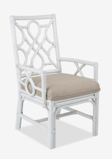 Megan Chippendale white rattan arm chair cream taupe cushion(22.5X25X38.5)