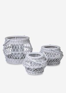 (LS) Rattan Huricane Candle set-3 in White Wash (16X16X12.5/13X13X13/10X10X7)