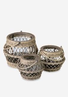 (LS) Rattan Huricane Candle set-3 in driftwood rattan (16X16X12.5/13X13X13/10X10X7)