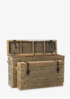 (SP) Rana Rattan Console Set of 2 w/ Storage (55x16x30; 43x10x24)