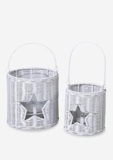 (LS) Rattan lantern with star accent set-2 (White) (16X16X12.5/13X13X13/10X10X7)