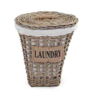 (LS) Storage Basket with Cotton Liner and Jute text (20X20X21)
