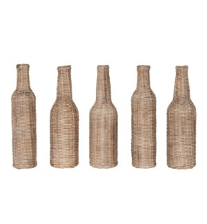 Sabrina Wicker Wrapped Glass Bottles, Grey Wash, Set5