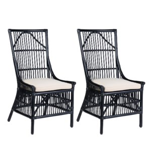 Winston Rattan Dining Side Chairs (Set of 2) - Black - (package: 2pcs/box) priced per pair