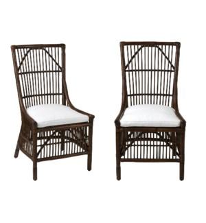 Winston Rattan Dining Side Chair - Antq Brown  MOQ 2 (22x23.6x41.3)