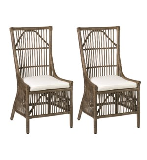Winston Rattan Dining Side Chair - Vintage Grey - MOQ 2 (22x23.6x41.3) MOQ 2  (package: 2pcs/box) pr