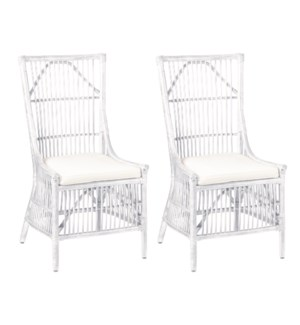 Winston Rattan Dining Side Chairs (Set of 2)White(package: 2pcs/box) priced per pair