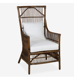 Winston Rattan High Back Arm Chair - Antique Brown(24x27x43)